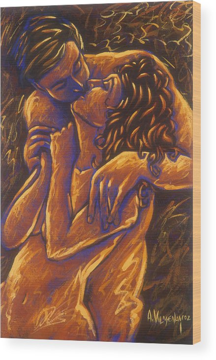 Acrylic Wood Print featuring the painting Los Amantes The Lovers by Arturo Vilmenay
