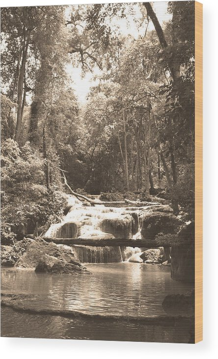Waterfall Wood Print featuring the photograph 08003 by Jeffrey Freund