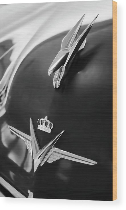 1954 Chrysler Imperial Sedan Wood Print featuring the photograph 1954 Chrysler Imperial Sedan Hood Ornament 3 by Jill Reger