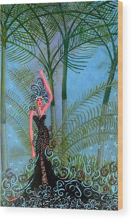 Couture Artwork Wood Print featuring the painting Bayou Couture by Helen Gerro