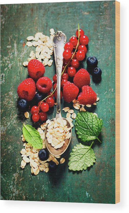 Oat Wood Print featuring the photograph Breakfast With Oats And Berries by Natalia Klenova