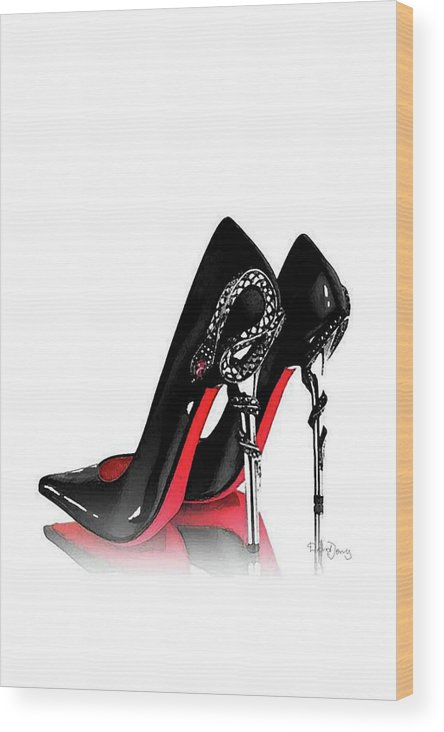 beb3f9d0eebb Christian Louboutin Shoes Poster Wood Print featuring the mixed media Christian  Louboutin Shoes Print by Del