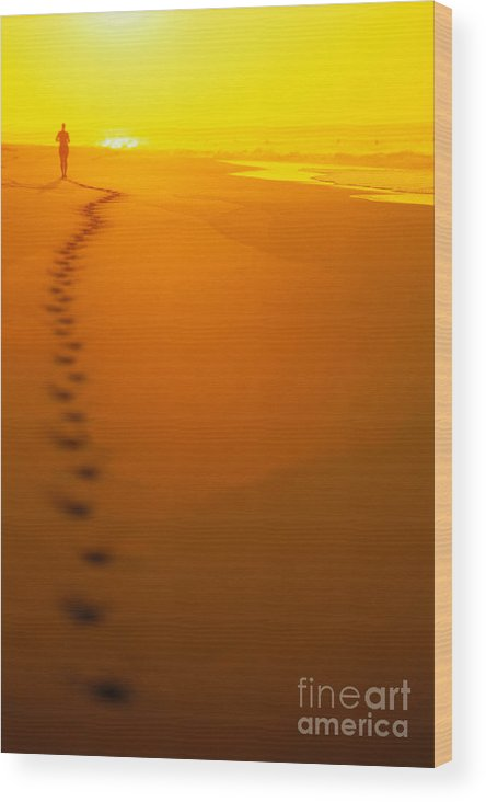 C1211 Wood Print featuring the photograph Jogging At Sunset by Dana Edmunds - Printscapes