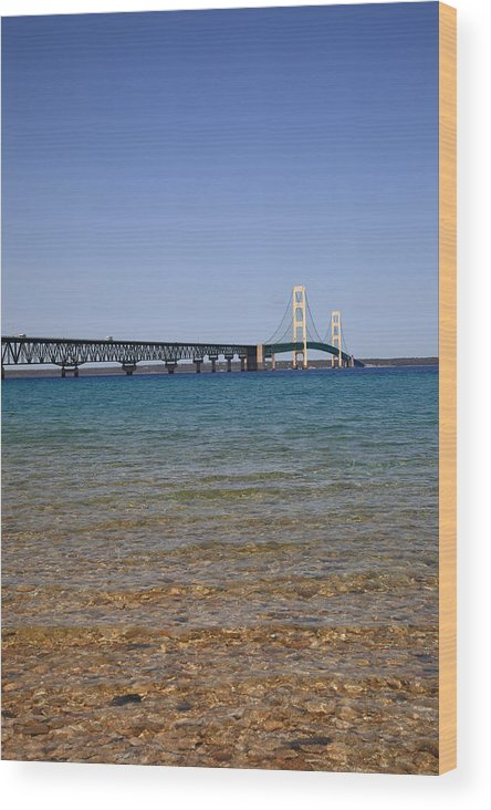 America Wood Print featuring the photograph Mackinac Bridge by Frank Romeo