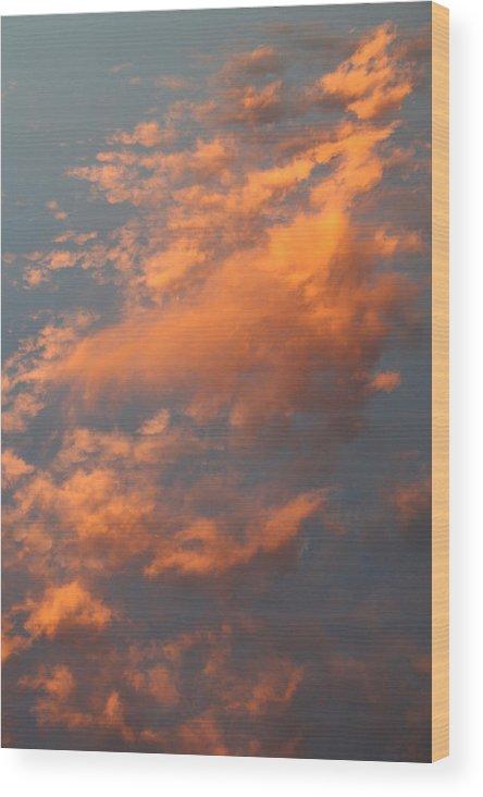 Sky Wood Print featuring the photograph Orange Sky by Brande Barrett
