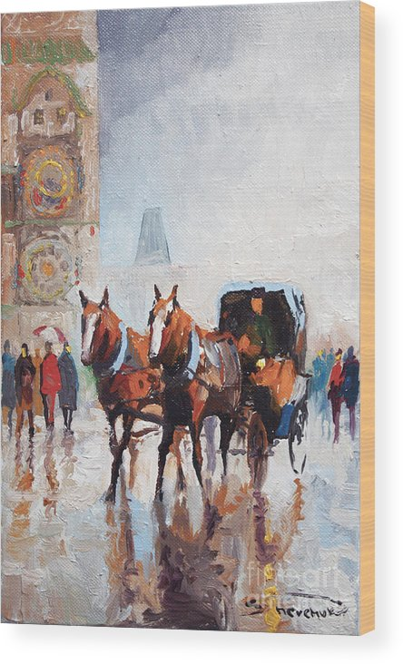 Prague Wood Print featuring the painting Prague Old Town Square by Yuriy Shevchuk