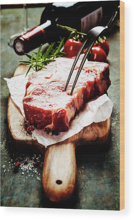 Steak Wood Print featuring the photograph Raw Beef Steak And Wine by Natalia Klenova