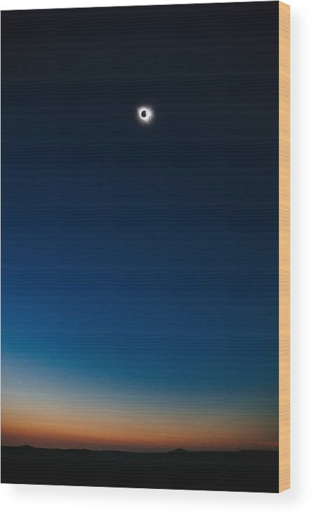 Sun Wood Print featuring the painting Solar Eclipse, Syzygy, The Sun, The Moon And Earth by Celestial Images