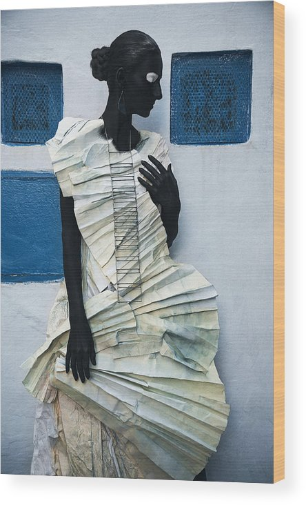 Black Wood Print featuring the photograph Woman With Black Boby Paint In Paper Dress by Veronica Azaryan