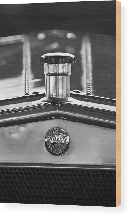 1917 Winton Six-33 Sport Touring Wood Print featuring the photograph 1917 Winton Six-33 Sport Touring Hood Ornament 2 by Jill Reger