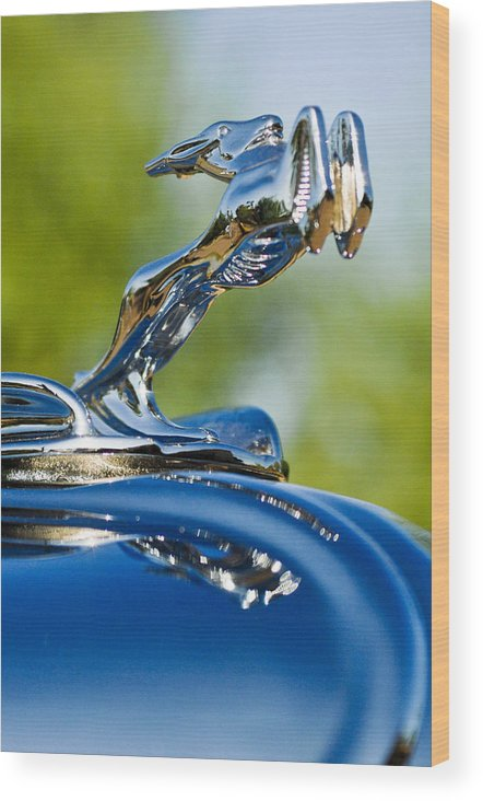 1931 Chrysler Cn Roadster Wood Print featuring the photograph 1931 Chrysler Cn Roadster Hood Ornament 2 by Jill Reger