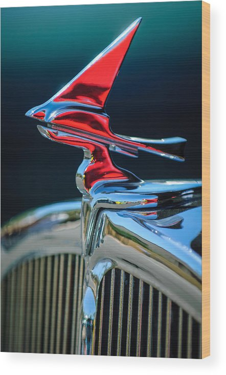 Car Wood Print featuring the photograph 1933 Franklin Olympic Hood Ornament by Jill Reger