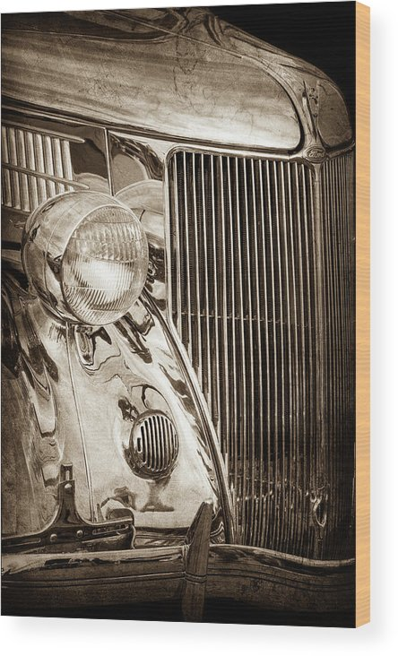 1936 Ford Stainless Steel Grille Wood Print featuring the photograph 1936 Ford Stainless Steel Grille -0376s by Jill Reger