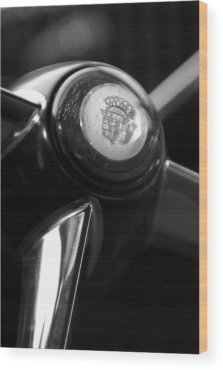 1947 Cadillac Wood Print featuring the photograph 1947 Cadillac Steering Wheel by Jill Reger