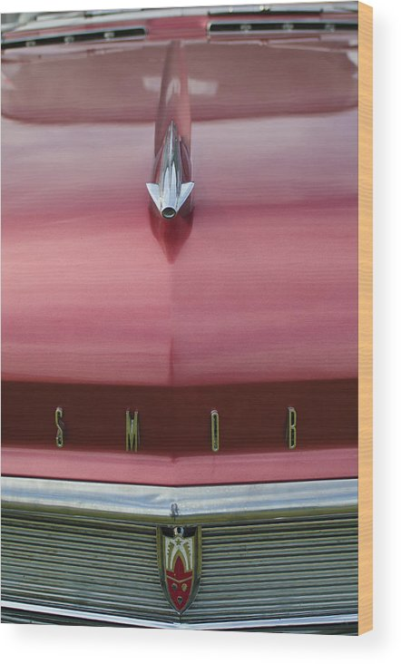 1958 Oldsmobile S-88 Wood Print featuring the photograph 1958 Oldsmobile S-88 Hood Ornament 2 by Jill Reger
