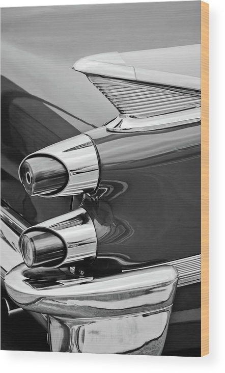 1959 Dodge Custom Royal Super D 500 Taillight Wood Print featuring the photograph 1959 Dodge Custom Royal Super D 500 Taillight -0233bw by Jill Reger