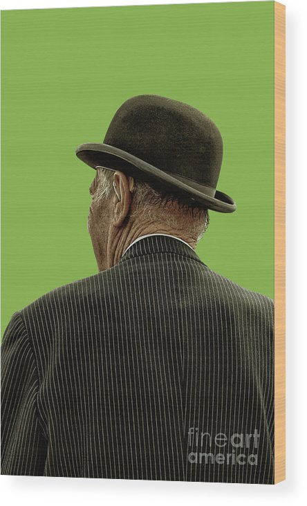 Bowler Hat Wood Print featuring the photograph Man With A Bowler Hat by Toula Mavridou-Messer