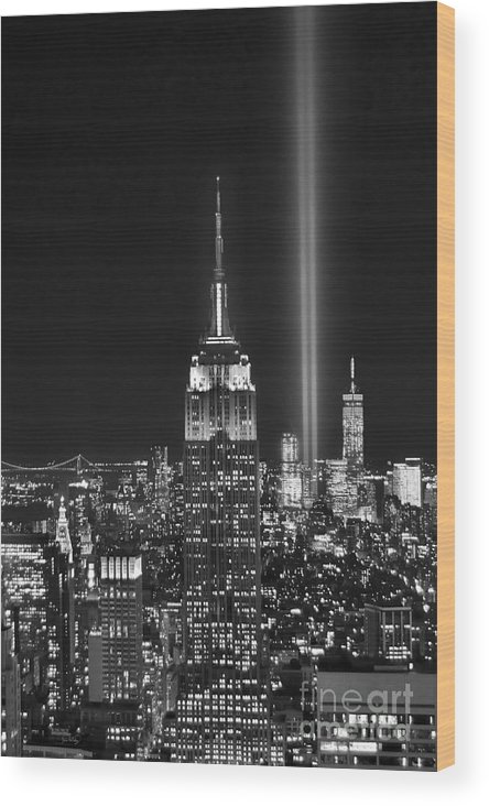 New York City Skyline At Night Wood Print featuring the photograph New York City Tribute In Lights Empire State Building Manhattan At Night Nyc by Jon Holiday