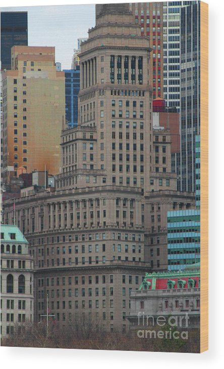 Stars And Stripes Wood Print featuring the photograph Skyline Of Manhattan - New York City by Doc Braham