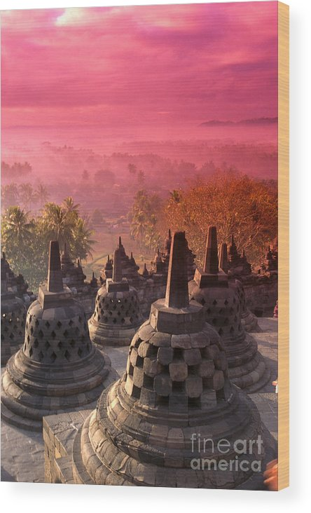 Ancient Wood Print featuring the photograph Borobudor Temple by Gloria & Richard Maschmeyer - Printscapes
