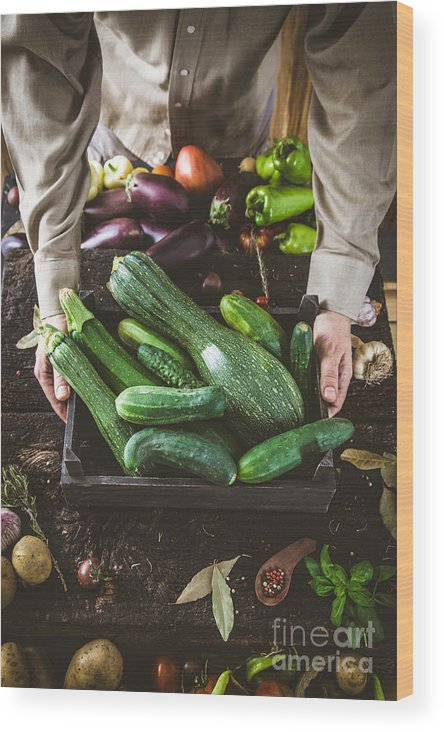 Crop Wood Print featuring the photograph Farmer With Vegetables by Mythja Photography