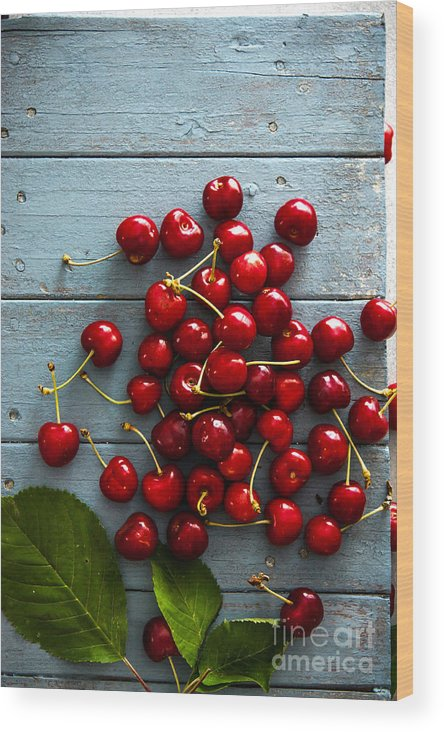 Juicy Wood Print featuring the photograph Fresh Cherries On Wood by Mythja Photography