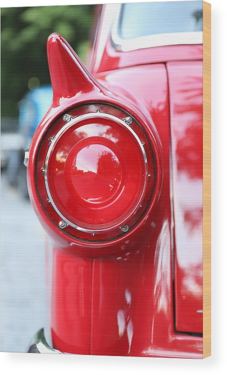 Ford Wood Print featuring the photograph '57 Tail Light by Charles van Wagenen Jr