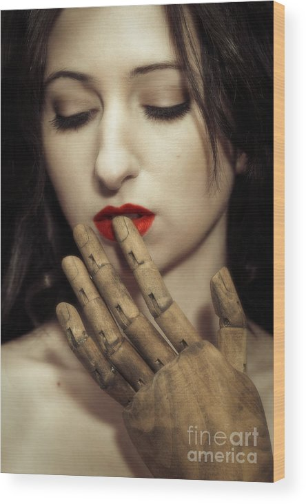 Surreal Wood Print featuring the photograph A Touch Of The Lips by Amanda Elwell