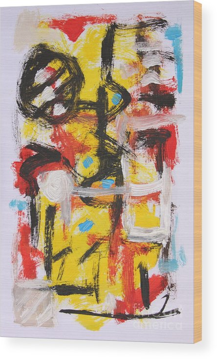 Abstract Wood Print featuring the painting Abstract 6835 by Michael Henderson