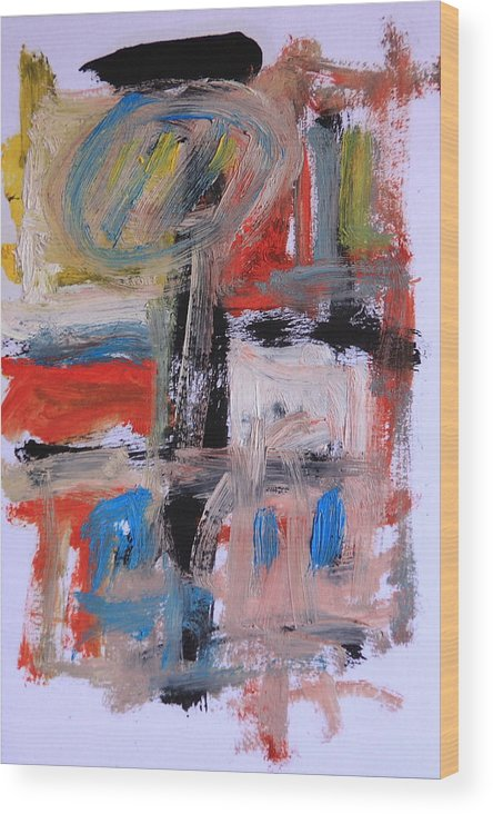 Abstract Wood Print featuring the painting Abstract 7202 by Michael Henderson