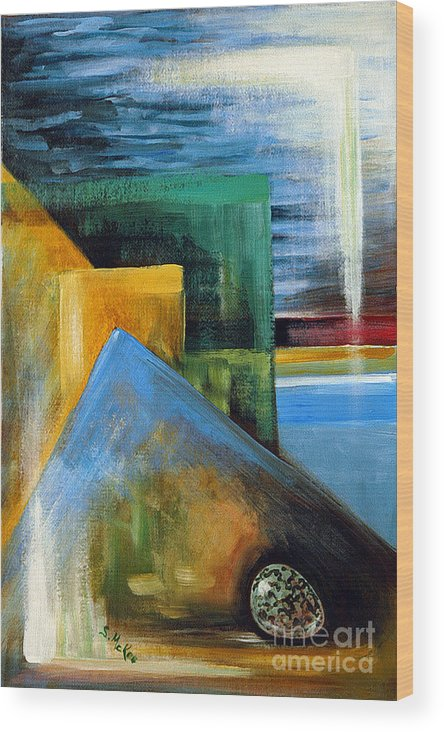 Abstract Wood Print featuring the painting Abstrct And A Plover Egg by Suzanne McKee