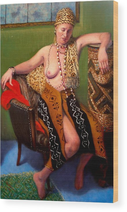 Realism Wood Print featuring the painting African Drum 4 by Donelli DiMaria