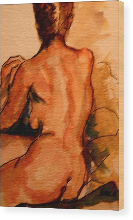 Female Wood Print featuring the painting After The Bath by Dan Earle