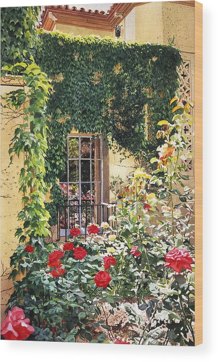 Rose Wood Print featuring the painting Afternoon In The Rose Garden by David Lloyd Glover