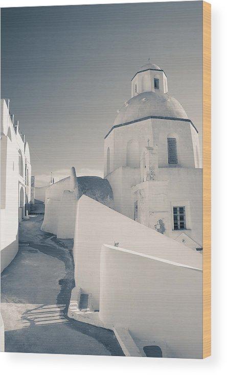 Greek Wood Print featuring the photograph Agios Minas Santorini Bw by Eva Tziampazi Rendl