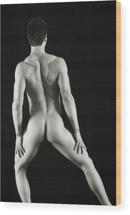 Male Nude Wood Print featuring the photograph Alan 3 by Thomas Mitchell