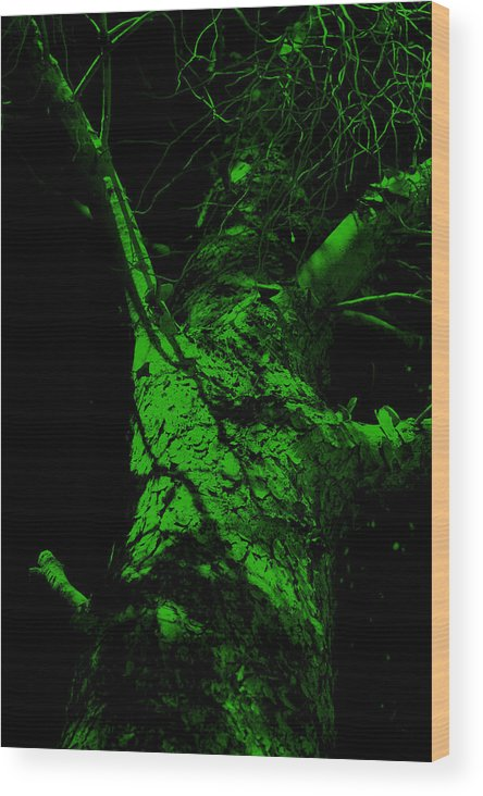 Tree Wood Print featuring the painting Alone Darkness 1 by Lounge Mode Productions Art