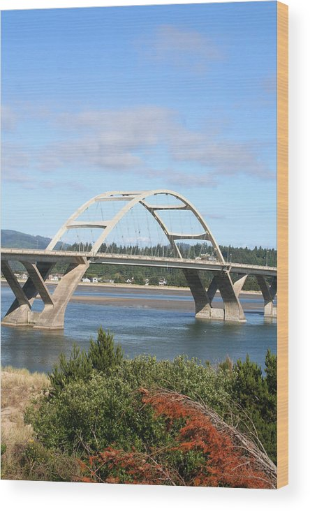 Alsea Wood Print featuring the photograph Alsea Bridge II Br-7005 by Mary Gaines