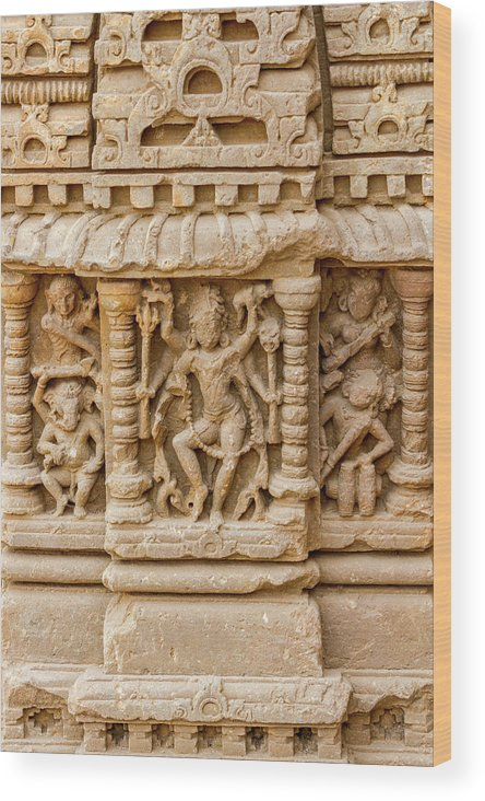Abhaneri Wood Print featuring the photograph An Old Carving Of Shiva At Abhaneri by Nila Newsom