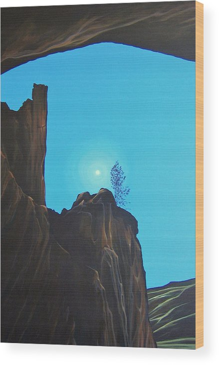 New Mexico Wood Print featuring the painting Anasazi Dreams by Hunter Jay