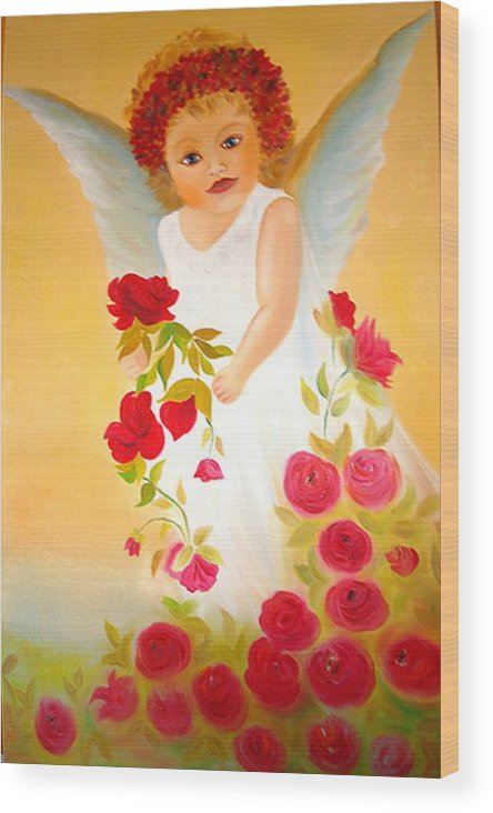 My Little Angel Wood Print featuring the painting Angel Surrounded By Red Roses by Xafira Mendonsa