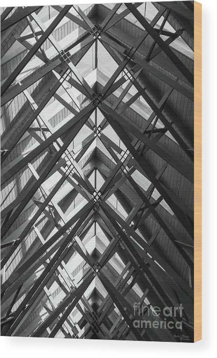 Abstract Wood Print featuring the photograph Anthony Skylights Grayscale by Jennifer White