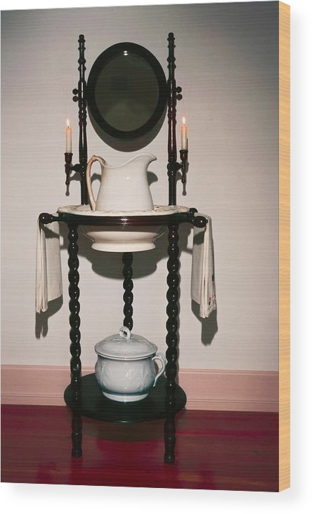Lavabo Wood Print featuring the photograph Antique Wash Stand by Sally Weigand