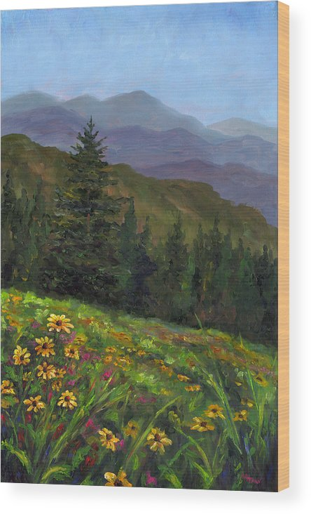 Wildflowers On The Mountain Hillside Of Blue Ridge Mountains Of Western North Carolina Near Ashevill Wood Print featuring the painting Appalachian Color by Jeff Pittman
