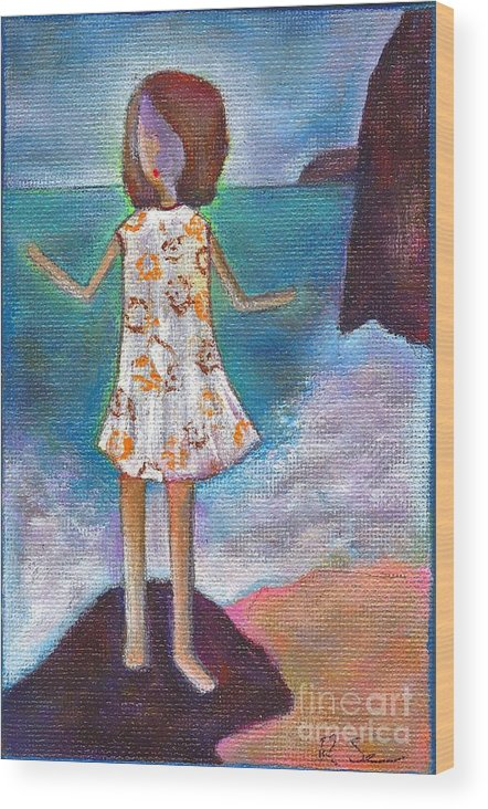 Girl Wood Print featuring the painting Aqui Estoy by Ricky Sencion