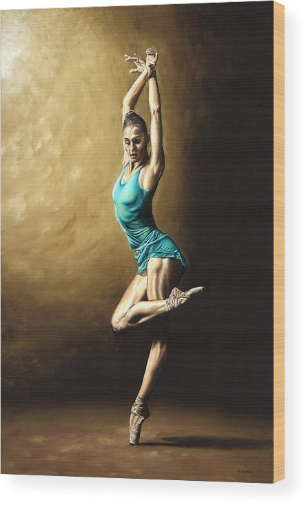 Dance Wood Print featuring the painting Ardent Dancer by Richard Young