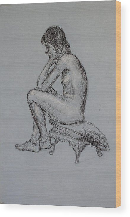 Realism Wood Print featuring the drawing Aroona 1 by Donelli DiMaria