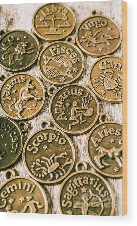 Star Signs Wood Print featuring the photograph Astrology Charms by Jorgo Photography - Wall Art Gallery