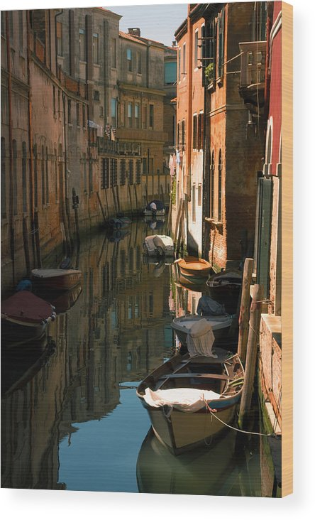 Venice Wood Print featuring the photograph Back Canal In Venice by Michael Henderson