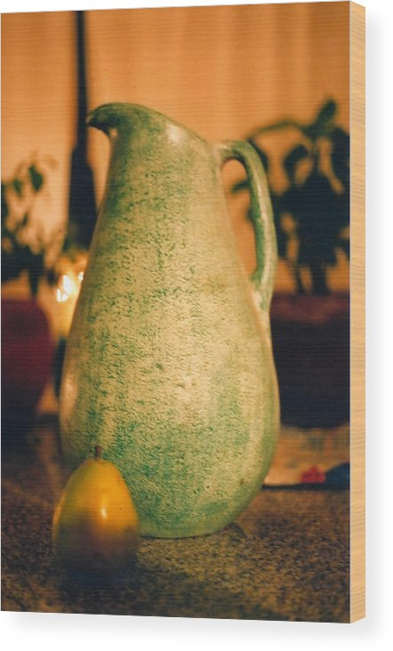 Still Life Wood Print featuring the photograph Bali Pitcher And Pear by Heather S Huston